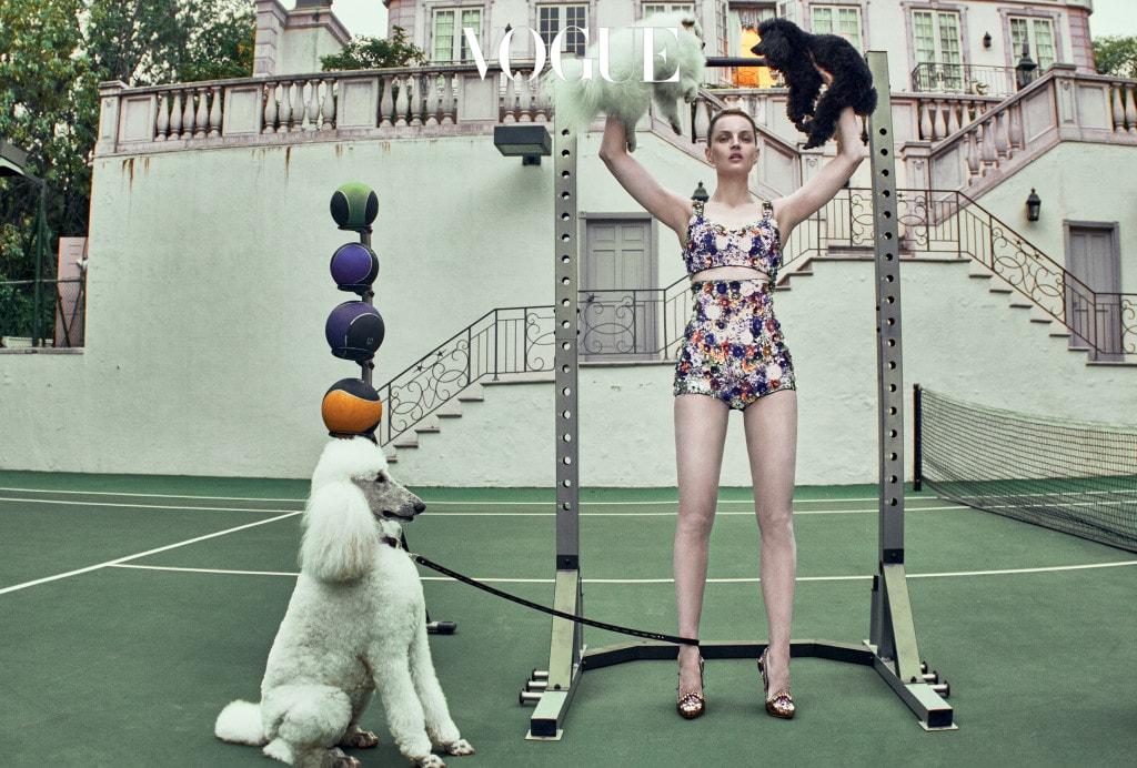 모델이 입은 플라워 아플리케 상의와 하의, 구두는 돌체앤가바나(Dolce&Gabbana), 왼쪽 강아지가 착용한 가죽끈은 고야드(Goyard).