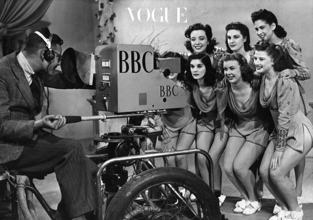 30th April 1946:  A group of 'Windmill Girls', dressed for the occasion, being televised at BBC's Alexandra Palace studios.  (Photo by Fox Photos/Getty Images)